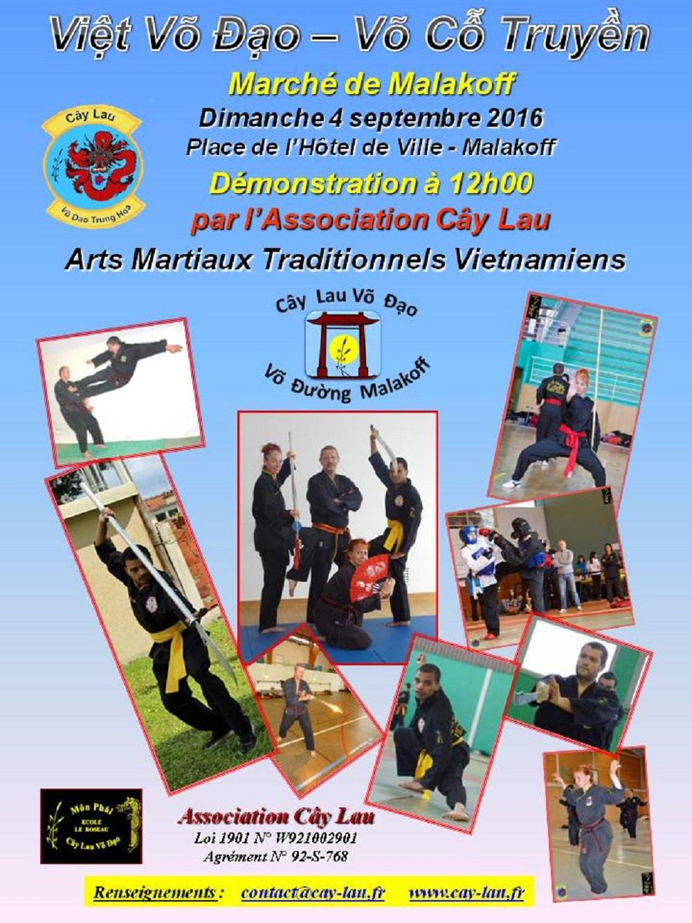 Démonstration CÂY LAU … Dimanche 04 Septembre à 12h00 Place du Marché – Malakoff